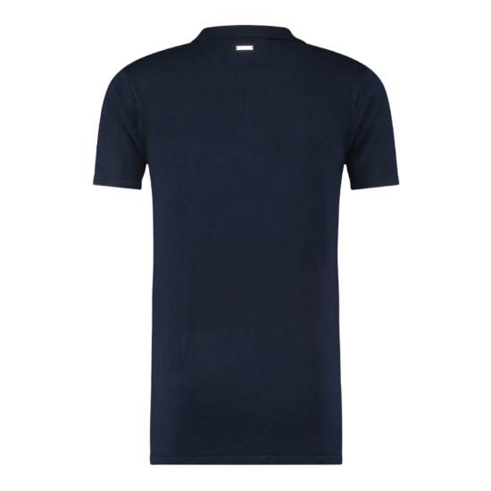 PURE WHITE Essential Knit Polo SS Navy